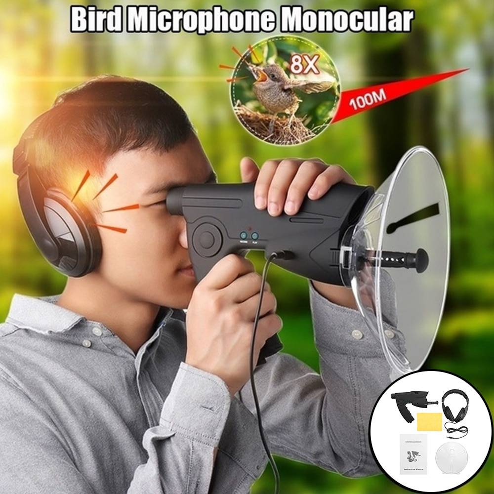 AliExpress Collecteur de son à distance pour l'observation d'oiseaux, grossissement 8X, enregistrement