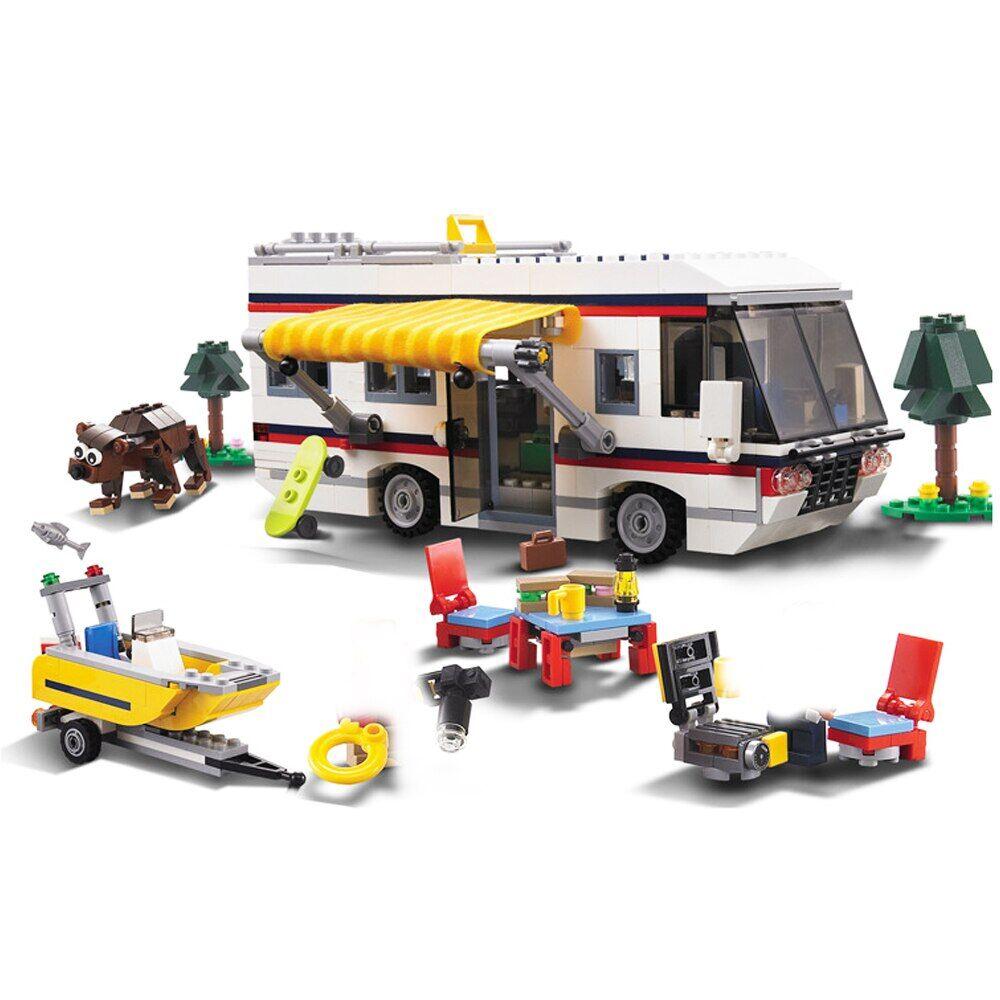 getaways Ensemble de blocs de construction 3 en 1 pour enfant, 2 Mini poupées, camping-car, jeu d'architecte
