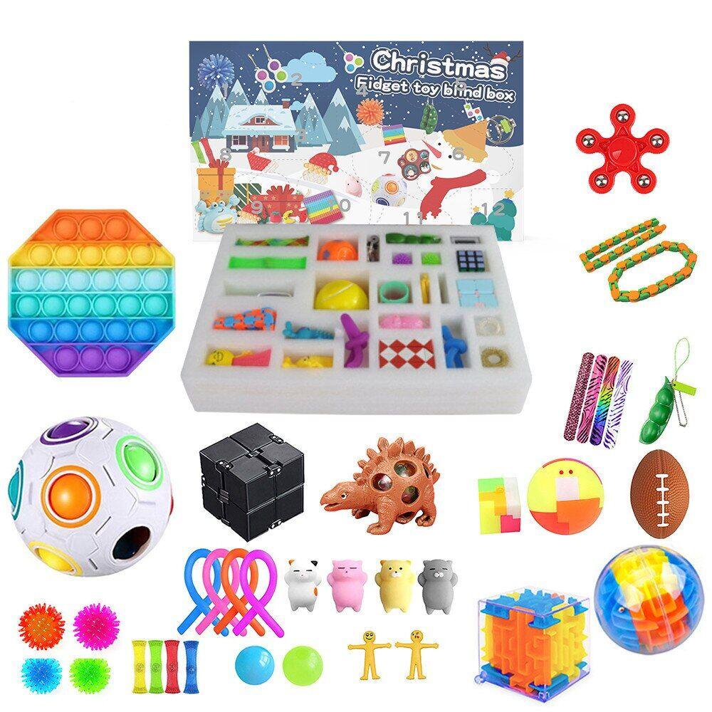 AliExpress Ensemble de jouets Fidget calendrier de l'avent de noël avec 24 jouets Antistress, boîte aveugle,