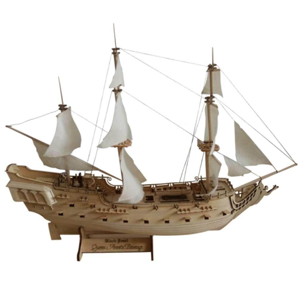 AliExpress RCtown – jouet de modélisation de voilier à perles noires, en bois assemblé, échelle 1:300, pirate