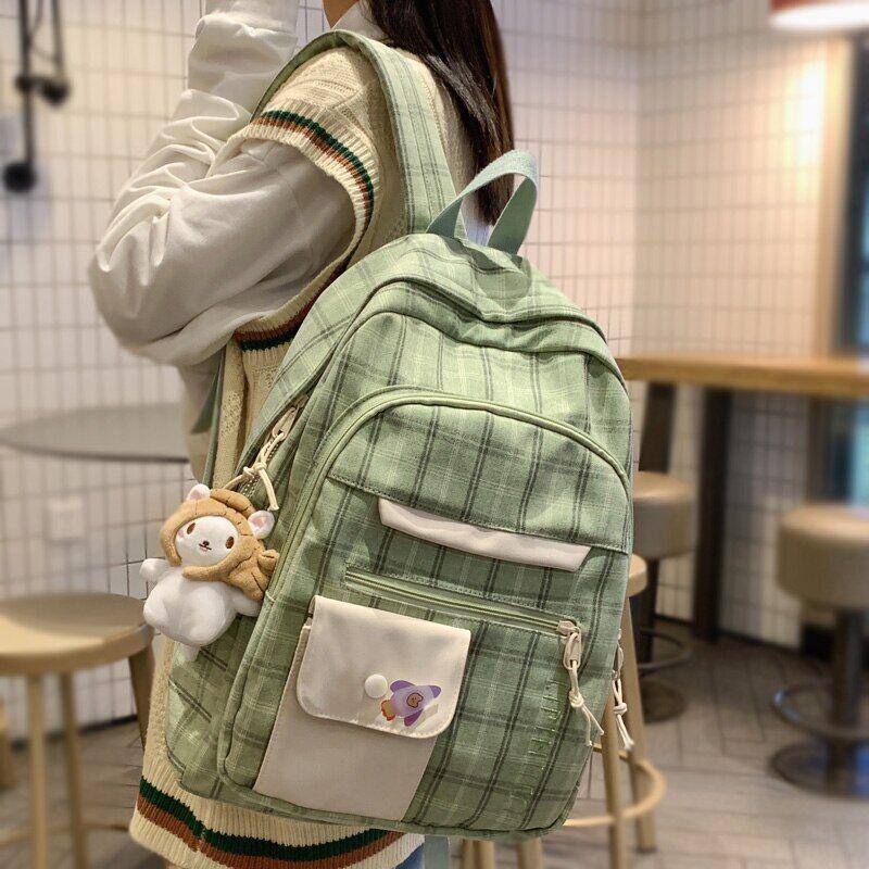 AliExpress DCIMOR – sac à dos à carreaux en coton et lin pour femmes, grande capacité, multi-poches, Style
