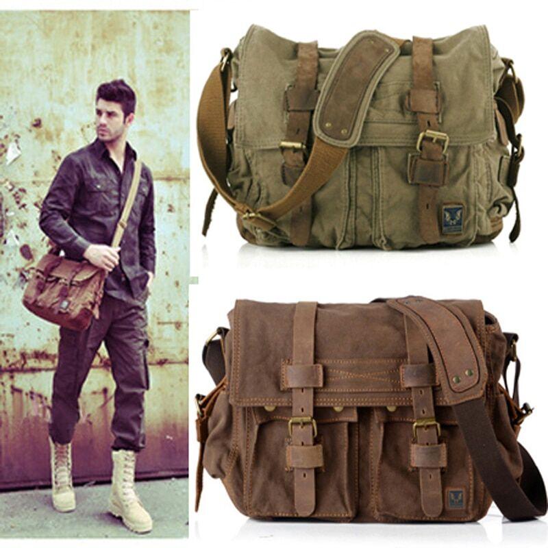 AliExpress Sac rétro Vintage en toile de coton et cuir pour hommes, sacoche à bandoulière, style militaire,