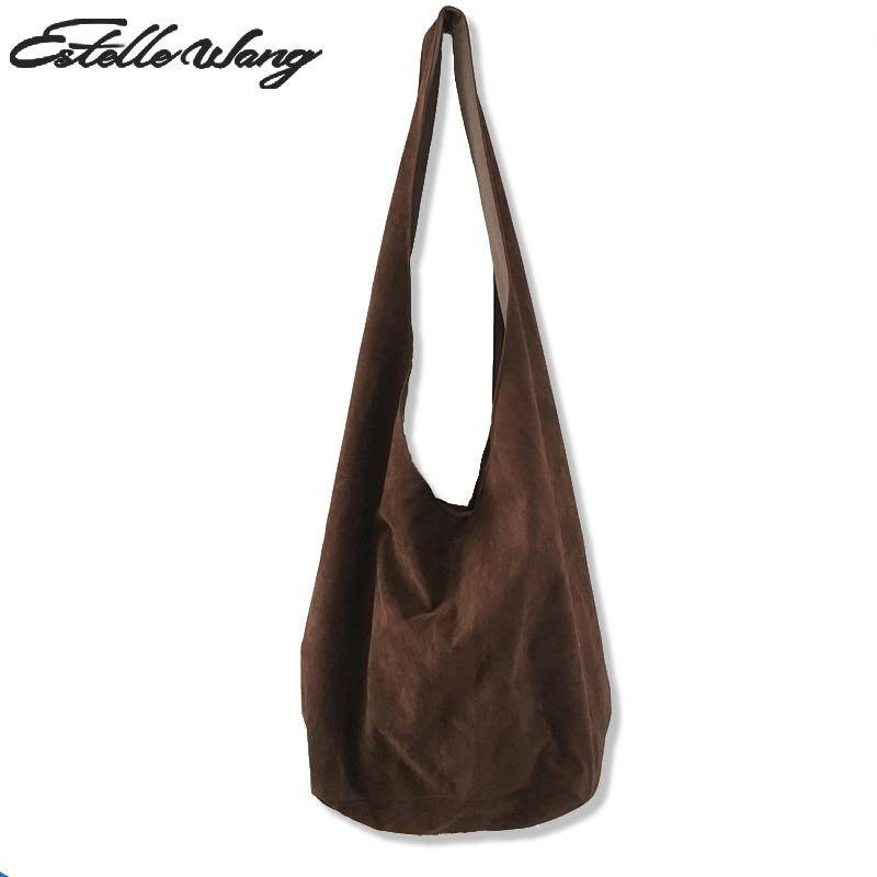 AliExpress Estelle Wang – sac à bandoulière en coton pour femmes, sacoche en flanelle Oblique, simple, grande