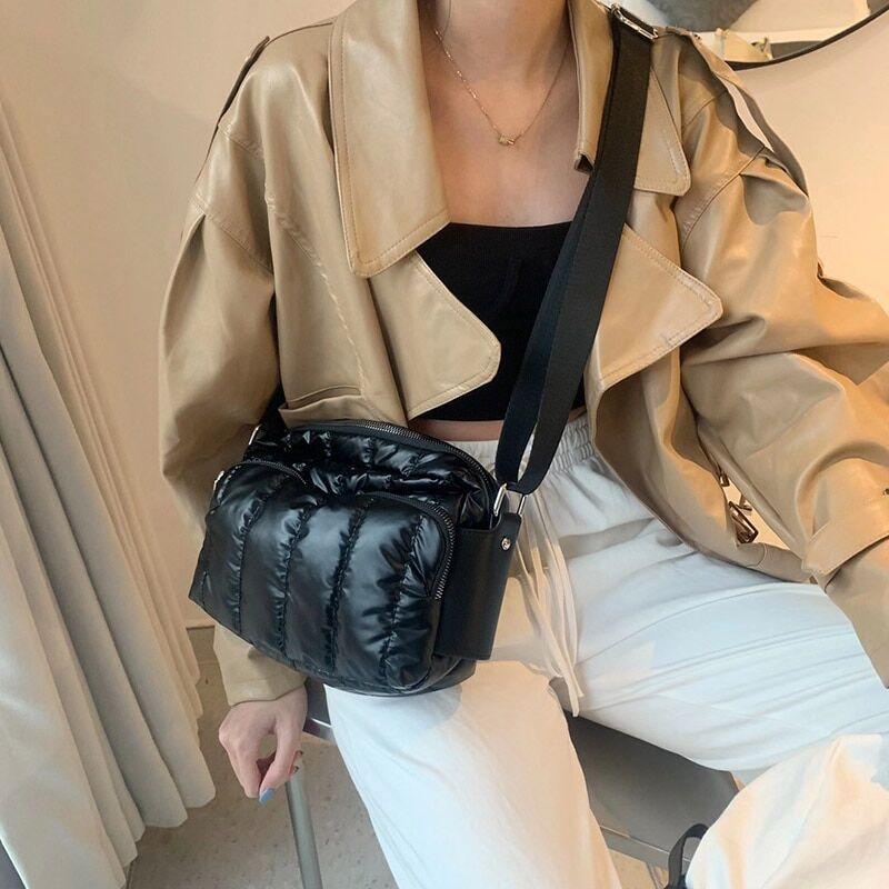 AliExpress Sacs à bandoulière en coton pour femmes, sac à main de luxe, large sangle, collection hiver 2021