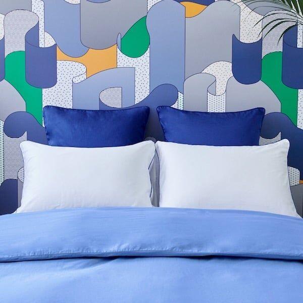 Tediber Paire de taies d'oreiller 50x70 satin coton Tediber bleues - Livraison et retours gratuits - 4 coloris