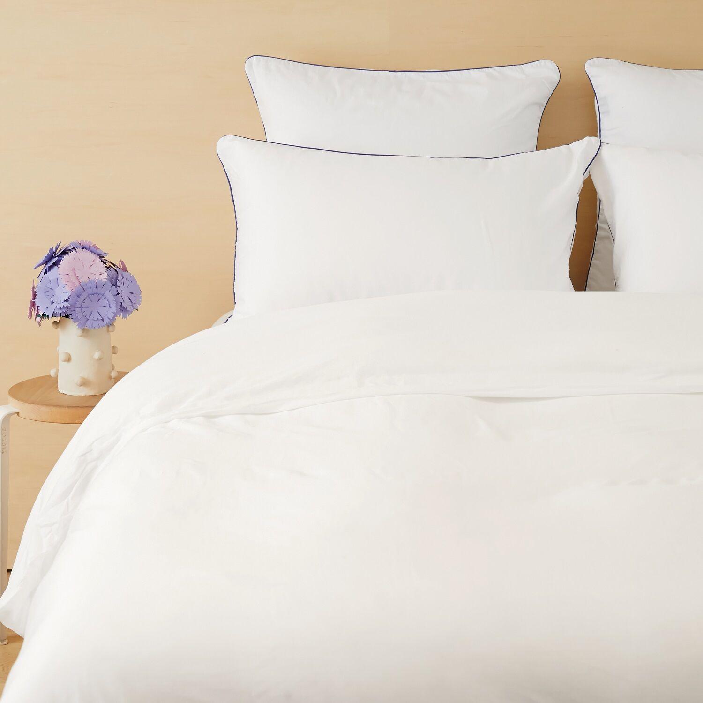 Tediber - Lot de 2 taies d'oreiller 63x63 satin coton blanc - Livraison et retours gratuits - Disponible en 4 coloris