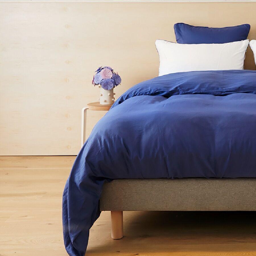 Tediber Lot de 2 taies d'oreiller 63x63 satin coton bleu Tediber - Livraison et retours gratuits - Disponible en 4 coloris