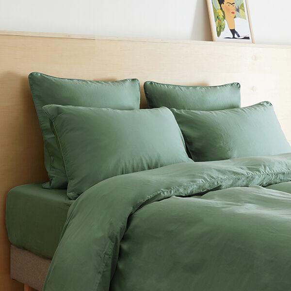 Tediber Lot de 2 taies d'oreiller satin coton lavé Tediber - Disponible en 4 coloris - Livraison express et gratuite