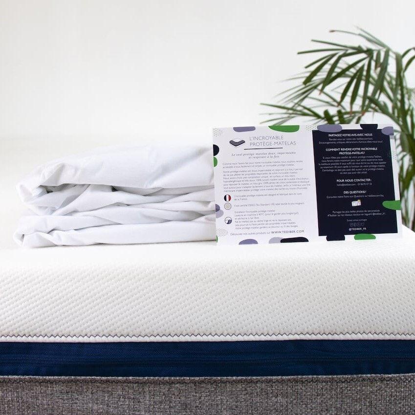 Tediber Protège matelas Tediber 90x190 - imperméable, doux et respirant - Fabriqué en France - Livraison gratuite en express -
