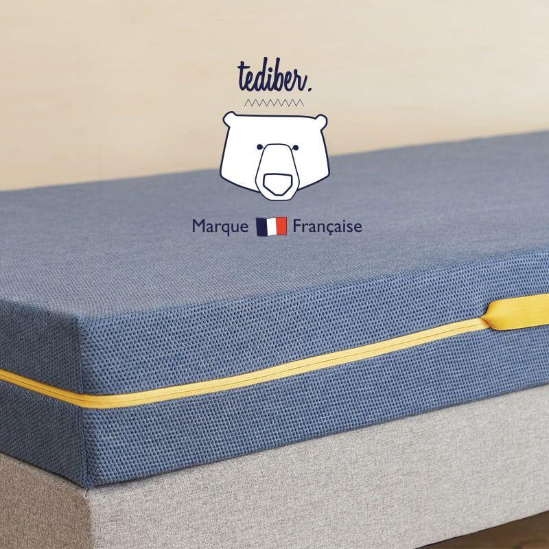 Tediber Incroyable matelas enfant Grand Tedi 80x200 - 100 nuits d'essai mousse polyuréthane Tediber® de densité 40kg/m3 - mailles stretch 3D de polyester