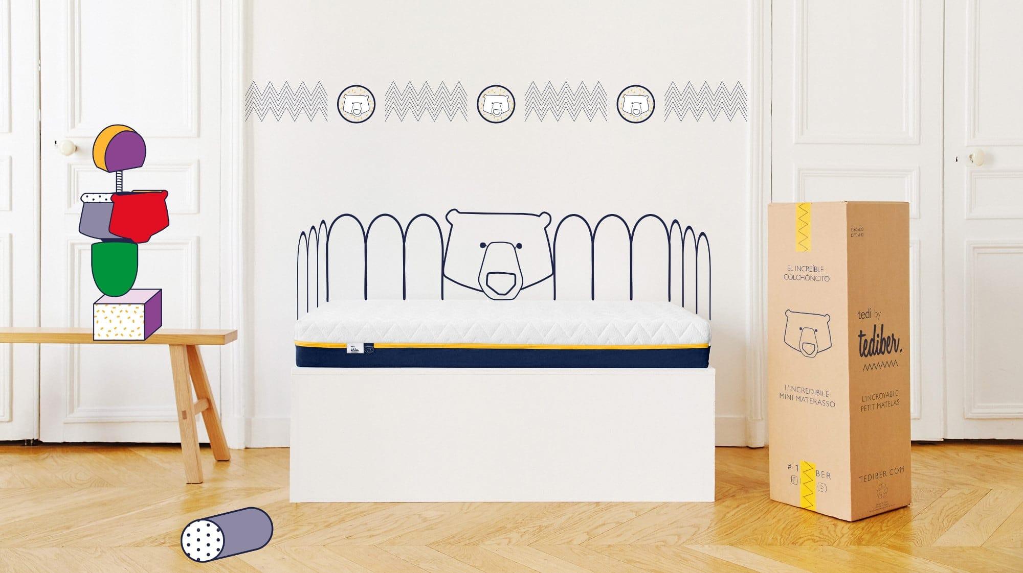 Tediber Matelas bébé 70x140 avec son draps inclus - Fabrication française - 0 à 5 ans - Livraison gratuite 24-48h - 100 nuits d'essai