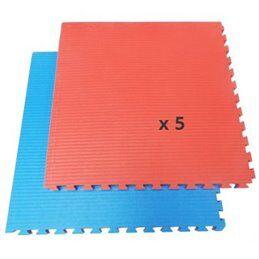 Battler Tatami / Tapis emboitable puzzle 4 cm epaisseur Bleu et rouge lot de 5 dalles de 1m²