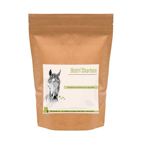 DISTRI'HORSE33 Charbon Végétal - Digestion cheval - Contenance: 500 g
