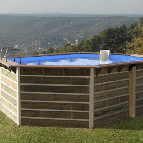 Water'Clip Piscine hexagonale allongée démontable en bois 510x320x129cm SABTANG - Water'Clip