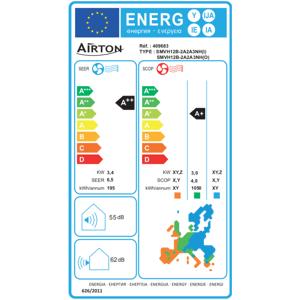 Airton Pompe à chaleur/Climatiseur Mono-Split Réversible - 3400/3600W 12000 BTU 1/4 3/8 R32 A++A+ Gaz pré-chargé + Raccordement Rapide Readyclim 4M - Publicité