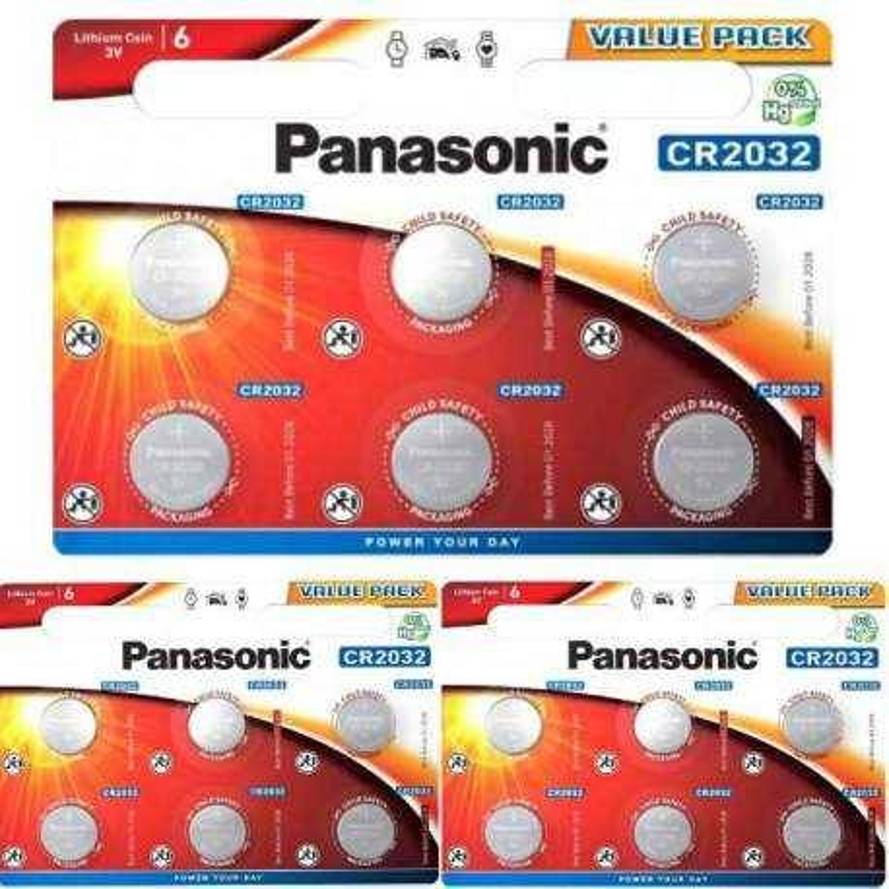 Panasonic 18 Piles CR2032 Panasonic Bouton Lithium 3V