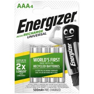 Energizer 4 Piles Rechargeables AAA / HR03 500mAh Energizer Universal - Publicité
