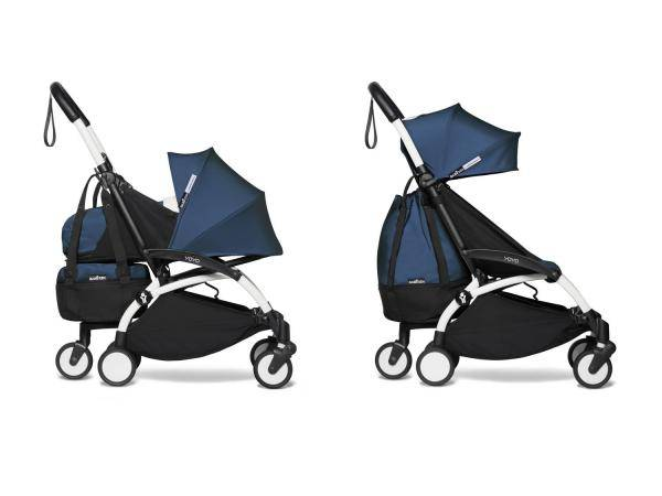 Babyzen Poussette dès la naissance 2 en 1 avec yoyo+ shopping bag bleu air france blanc 0+ 6+