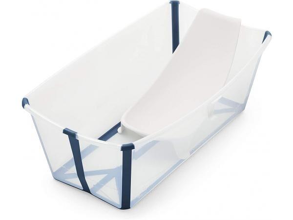 Stokke Ensemble flexi bath transparent bleu et transat de bain nouveau-né