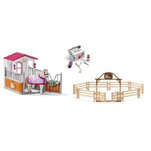 Schleich Box avec jument lusitanienne, manège avec portail, pharmacie d'écurie - Publicité