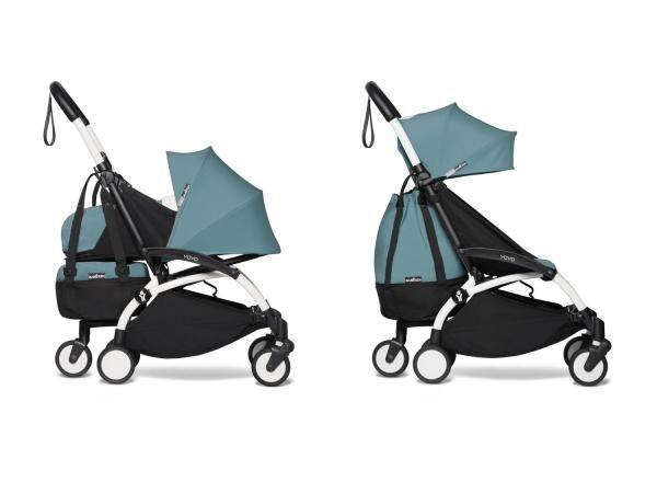 Babyzen Poussette 2en1 transportable en avion avec yoyo+ shopping bag aqua blanc 0+ 6+