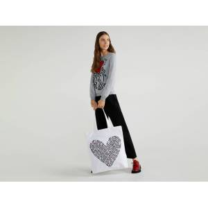 """United Colors of Benetton Benetton, Sac Cabas """"keith Haring"""", taille ST, Blanc, Femme - Publicité"""