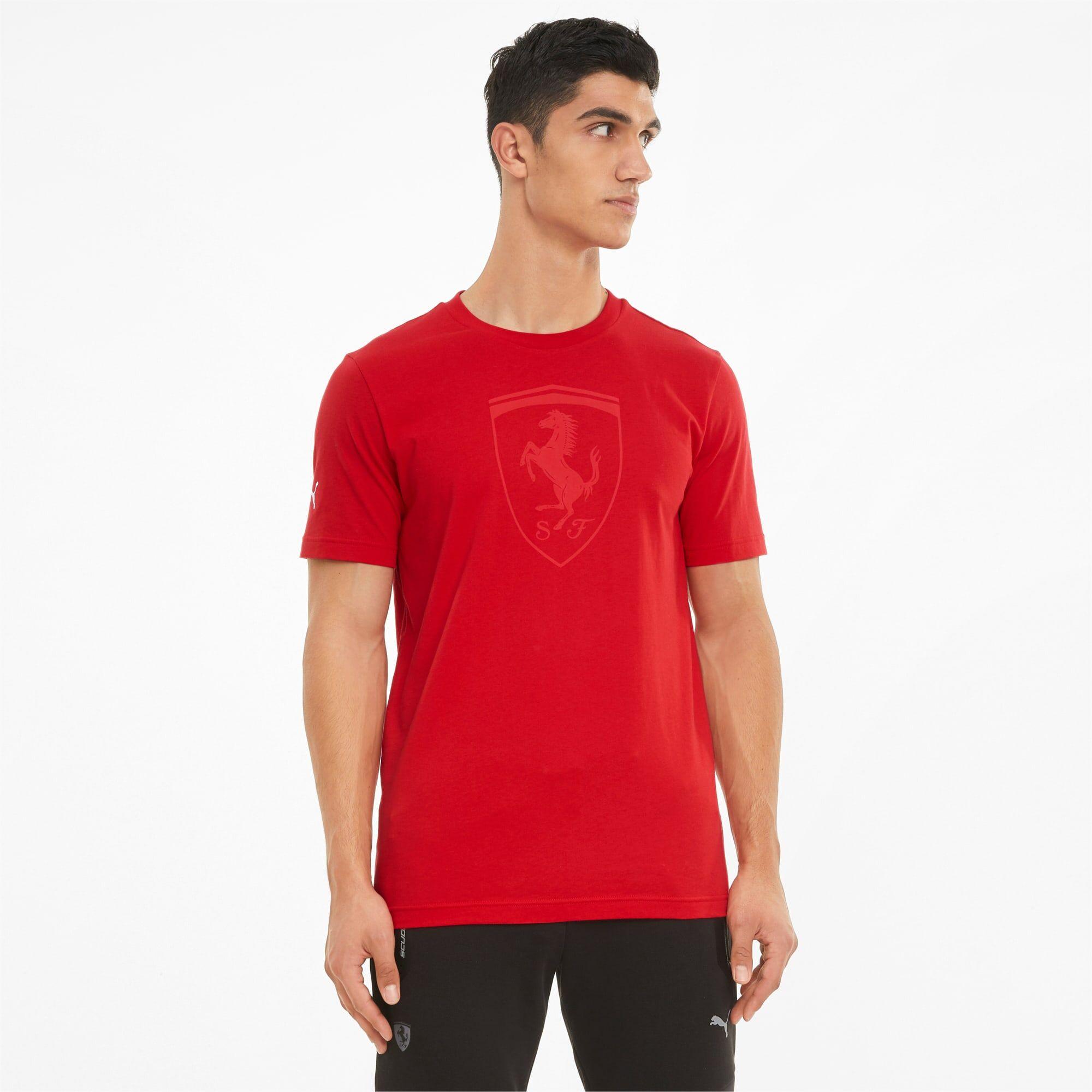 PUMA T-Shirt Big Shield ton sur ton Scuderia Ferrari Race homme, Rouge, Taille M, Vêtements