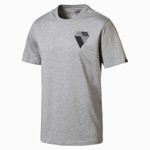 PUMA T-Shirt Graphic Brand pour Homme, Gris/Bruyère, Vêtements