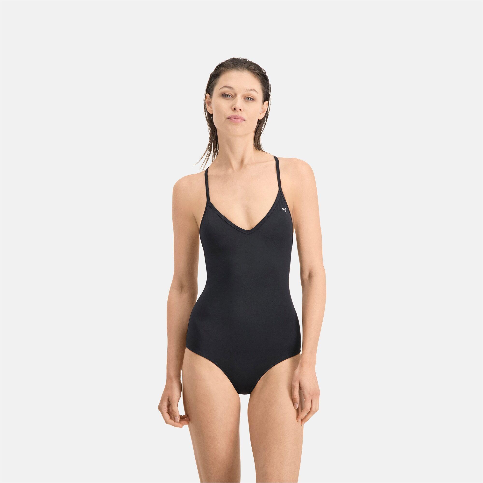 PUMA Maillot de bain PUMA Swim V-Neck Crossback pour Femme, Noir, Taille M, Vêtements