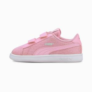 PUMA Chaussure Basket PUMA Smash v2 Glitz Glam pour petite fille, Rose, Taille 30, Chaussures - Publicité