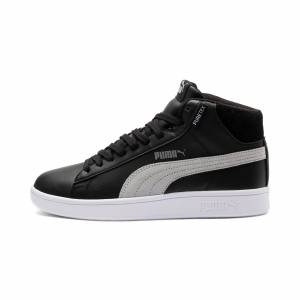 PUMA Chaussure Smash v2 Mid PureTEX Kinder High-Tops pour Enfant, Noir/Gris/Blanc, Taille 35.5, Chaussures