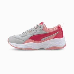 PUMA Chaussure Basket Cilia Cheetah Youth pour fille, Blanc/Rose/Gris, Taille 36, Chaussures