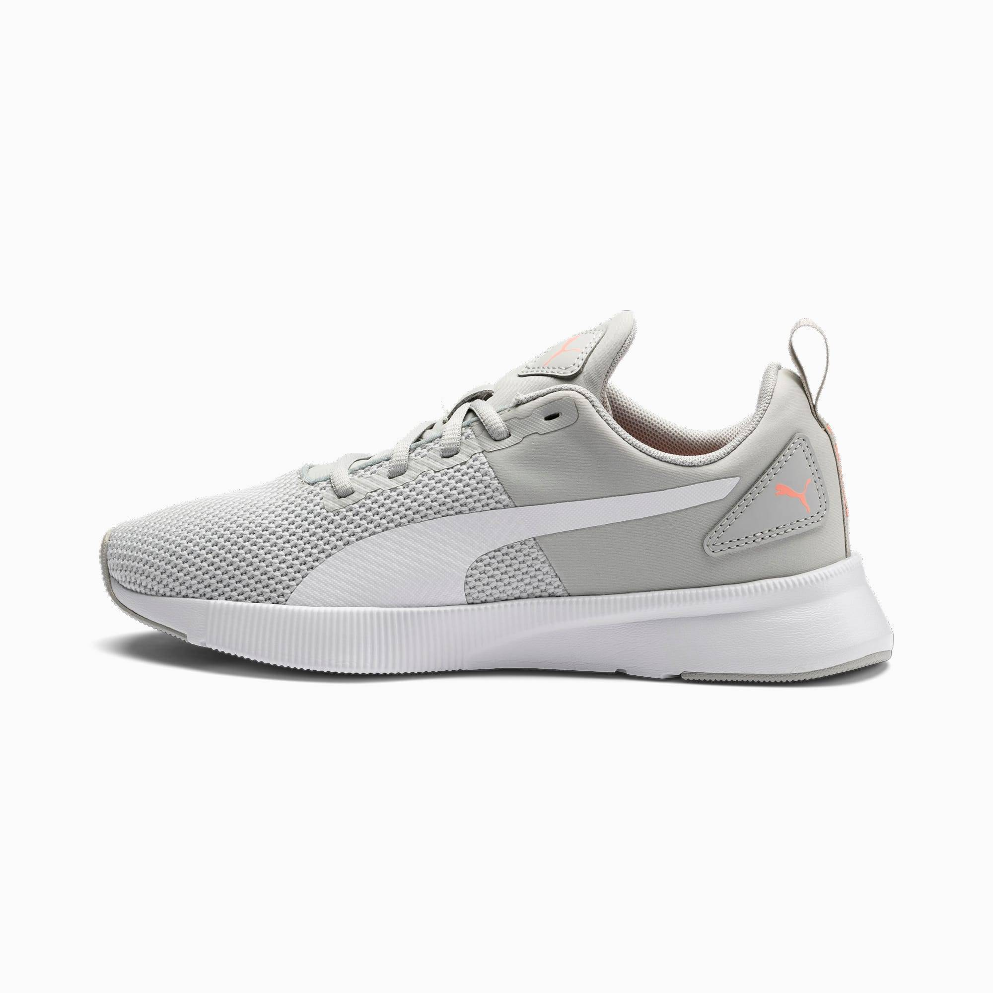 PUMA Chaussure de course Flyer Runner, Blanc/Rose/Gris, Taille 46, Chaussures