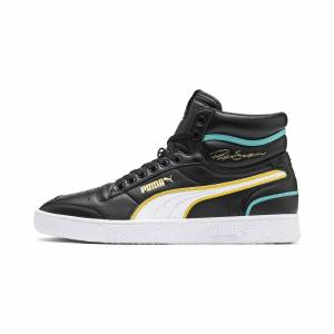 PUMA Chaussure Basket Ralph Sampson Mid Hoops pour Homme, Blanc/Noir, Taille 42.5, Chaussures