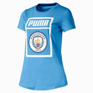 PUMA T-Shirt Manchester City Shoe Tag pour Femme, Bleu/Blanc, Taille XL, Vêtements