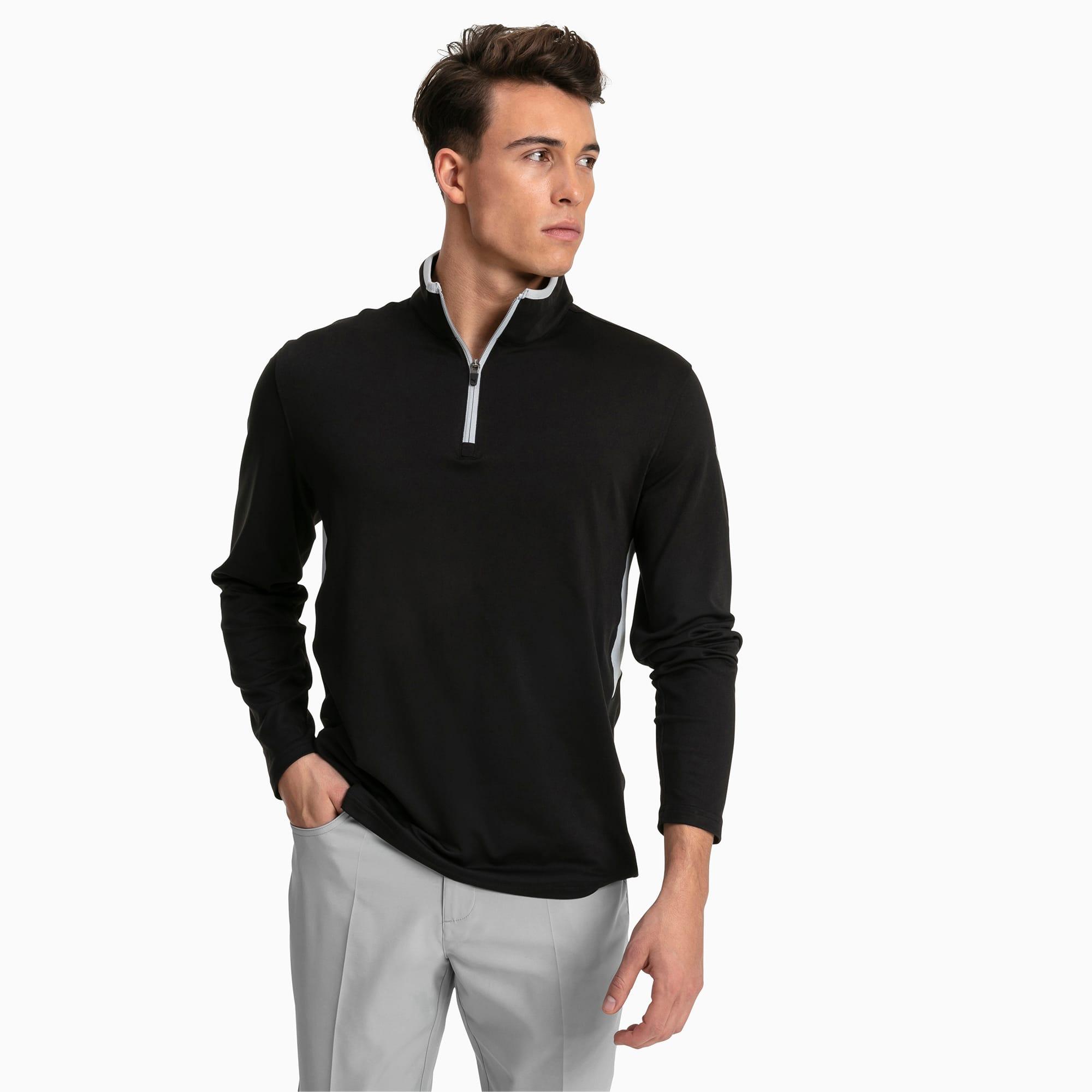 PUMA Pull de golf Rotation 1/4 Zip pour Homme, Noir, Taille L, Vêtements