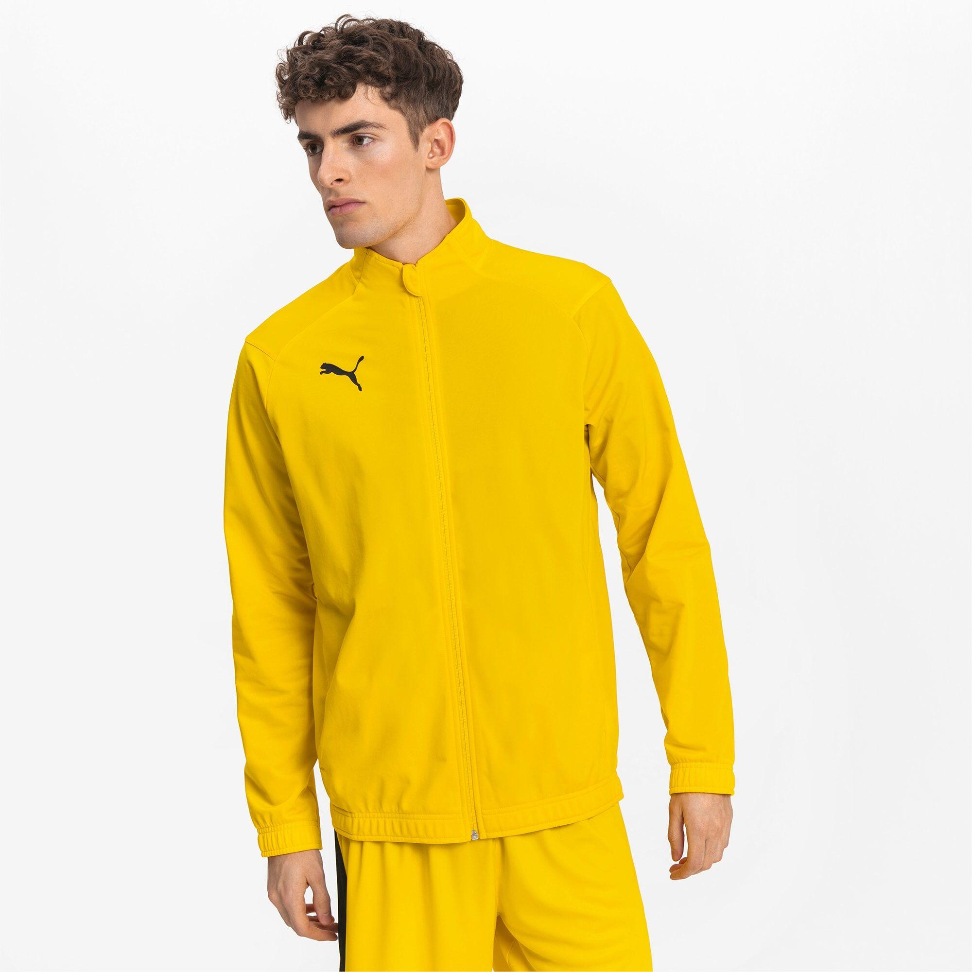 PUMA Blouson de football LIGA Sideline Poly Core pour Homme, Jaune/Noir, Taille L, Vêtements