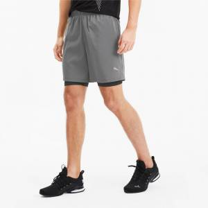 PUMA Short 2 en 1 Last Lap Running pour Homme, Gris/Noir, Taille XL, Vêtements