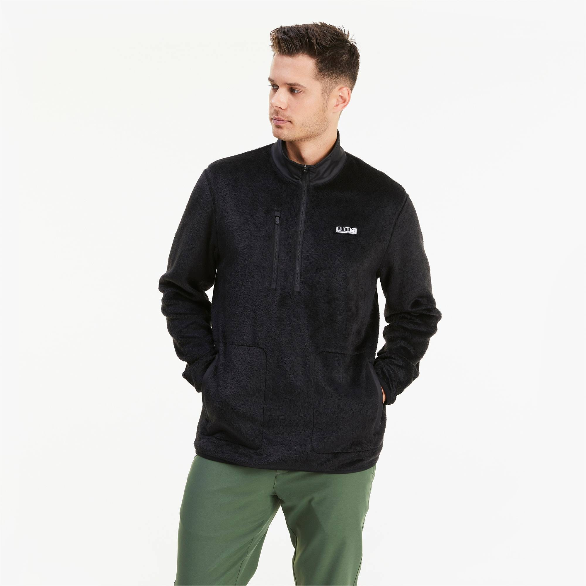 PUMA Blouson en polaire Sherpa 1/4 Zip pour Homme, Noir, Taille 3XL, Vêtements