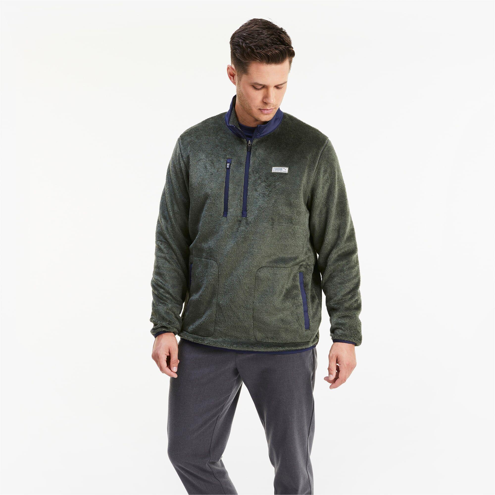 PUMA Blouson en polaire Sherpa 1/4 Zip pour Homme, Vert, Taille 3XL, Vêtements