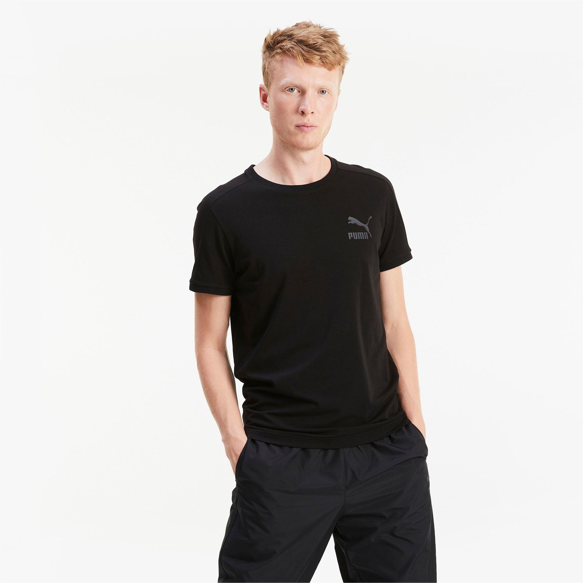 PUMA T-Shirt Iconic T7 Slim pour Homme, Noir, Taille L, Vêtements