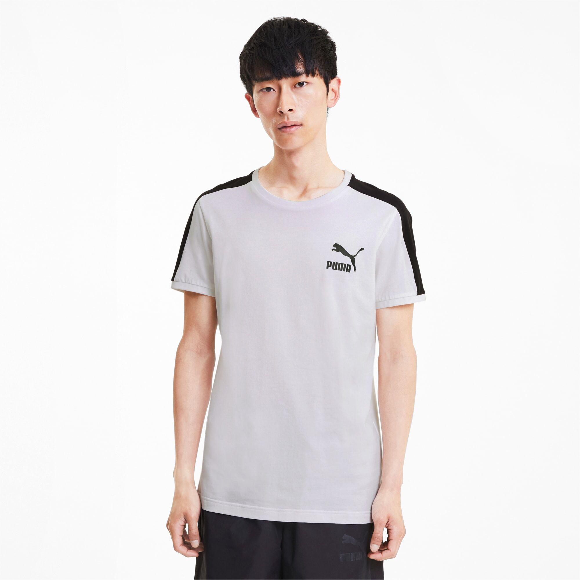 PUMA T-Shirt Iconic T7 Slim pour Homme, Blanc, Taille L, Vêtements