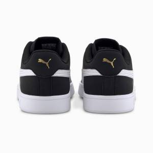 PUMA Chaussure Basket Smash v2 Buck, Noir/Blanc/Or, Taille 45, Chaussures - Publicité