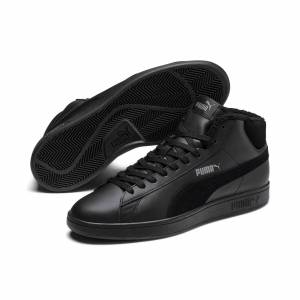 PUMA Chaussure montante Smash v2 Mid Winterized en cuir pour Homme, Noir/Gris, Taille 46, Chaussures - Publicité