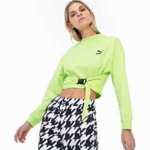 PUMA Sweat Tech Clash pour Femme, Vert, Taille L, Vêtements