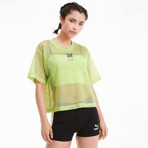 PUMA T-Shirt Classics Mesh pour Femme, Vert, Taille S, Vêtements