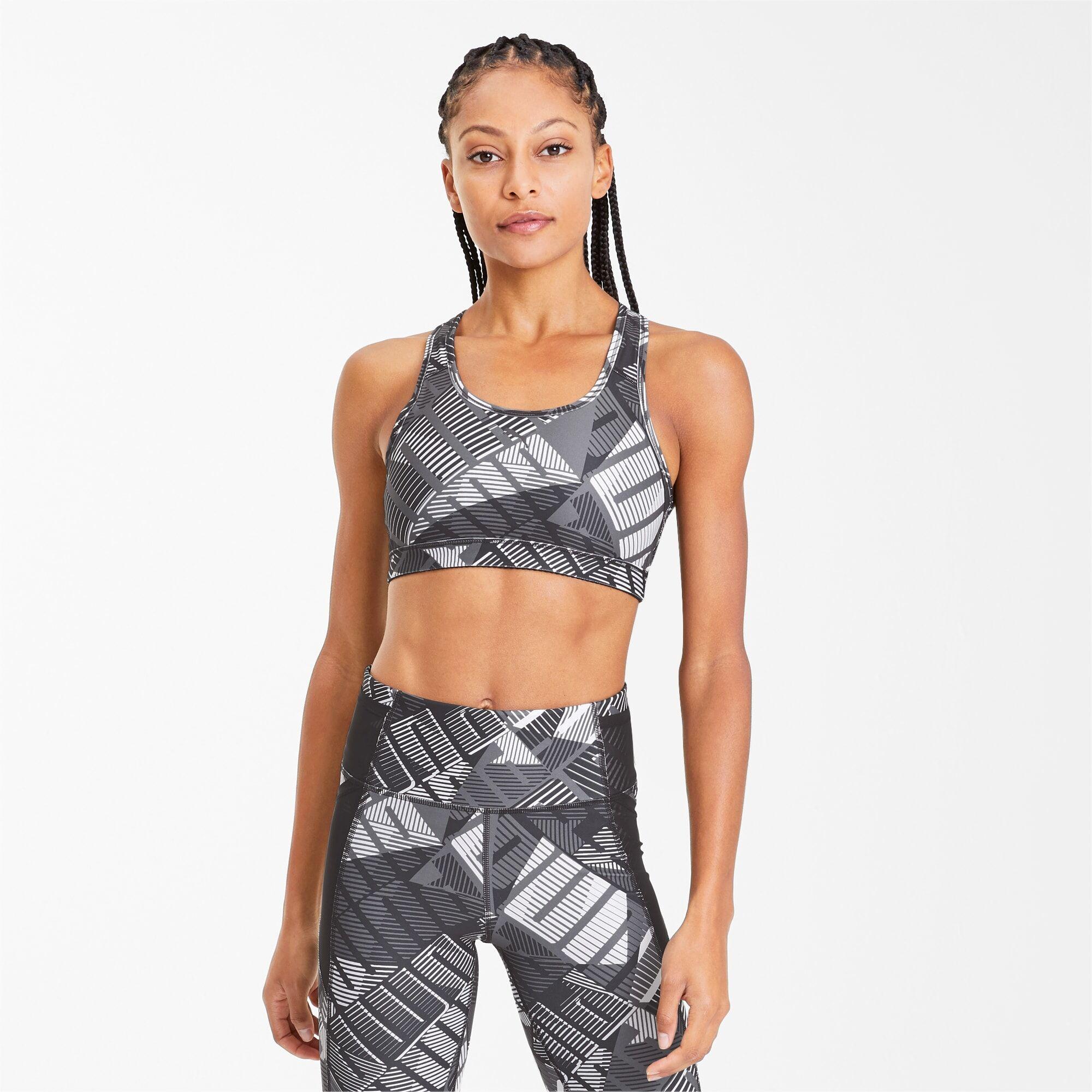 PUMA Soutien-gorge de sport 4Keeps Graphic, Noir/Blanc, Taille XS, Vêtements
