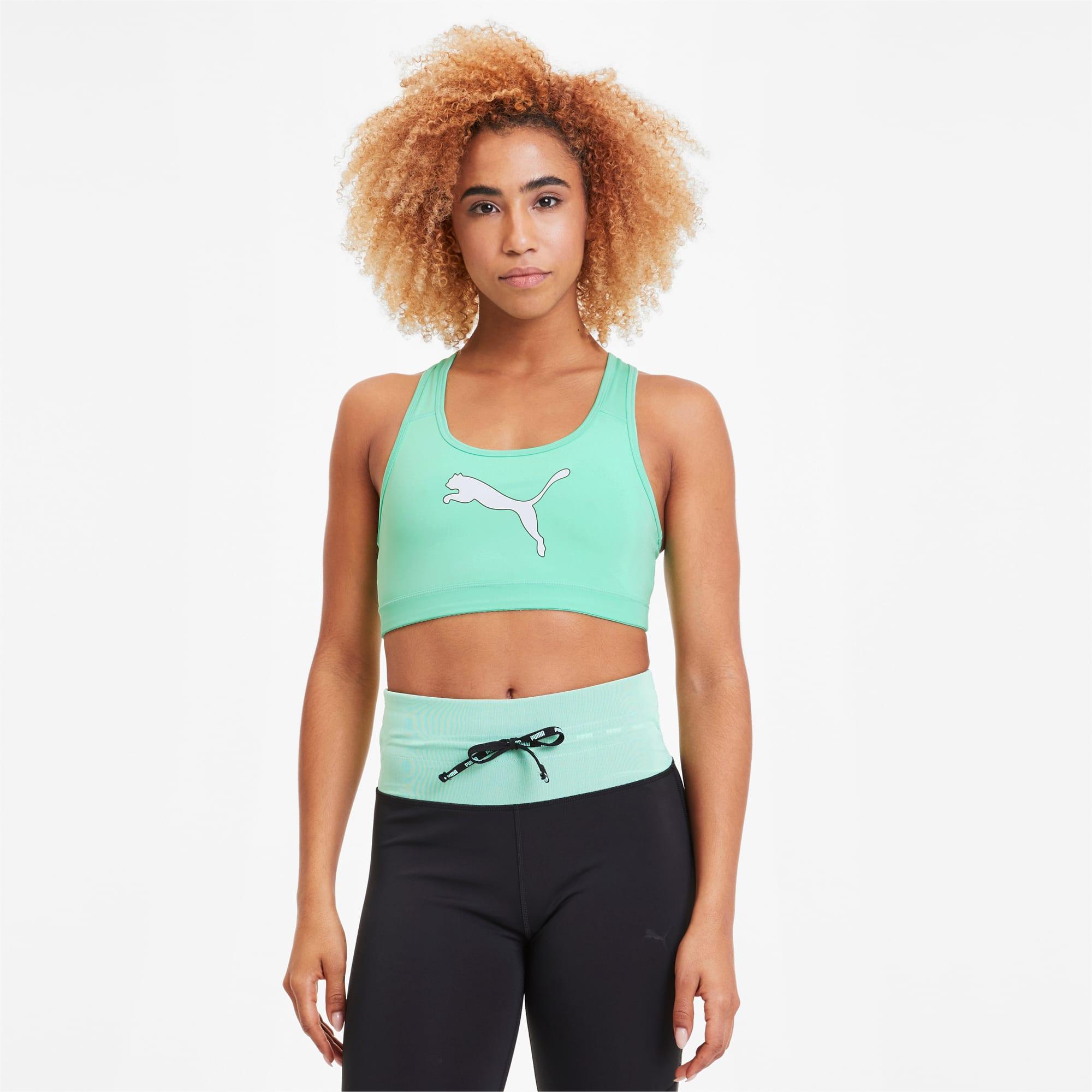 PUMA Soutien-gorge de sport 4Keeps Graphic, Vert/Noir, Taille M, Vêtements