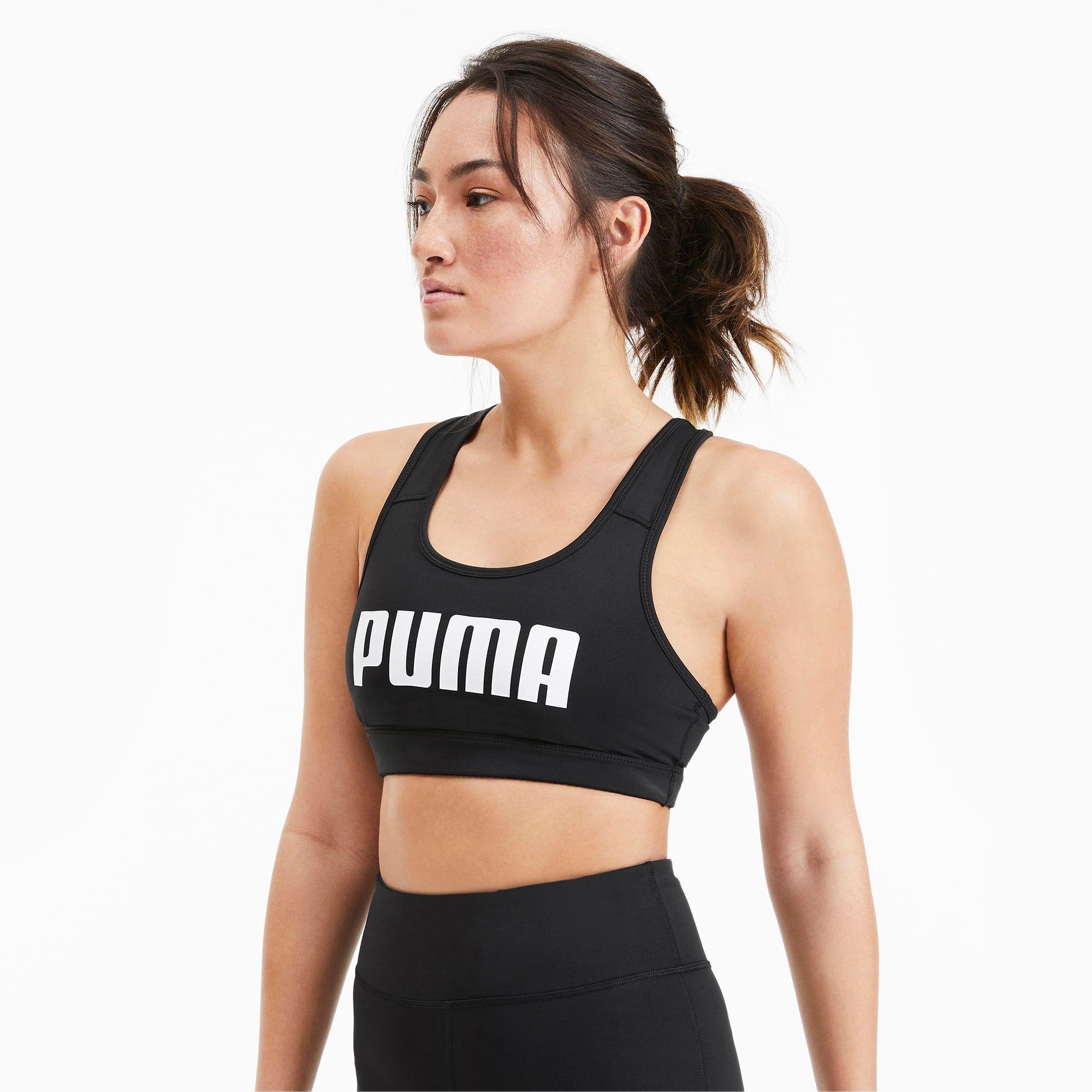 PUMA Soutien-gorge de sport 4Keeps pour Femme, Noir/Blanc, Taille S, Vêtements