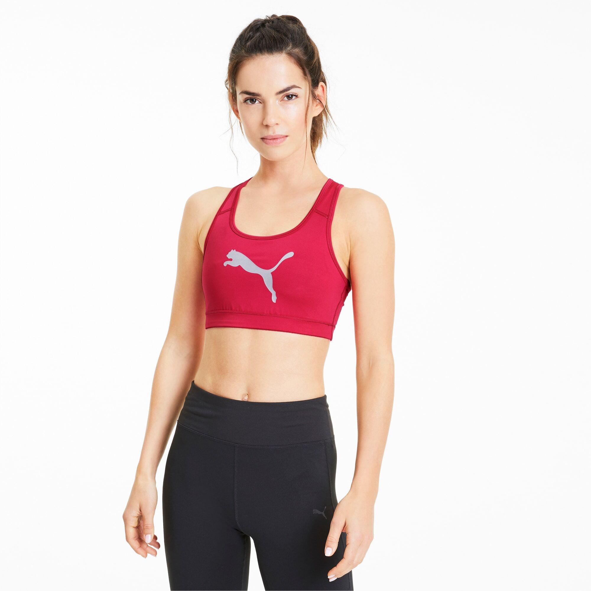 PUMA Soutien-gorge de sport 4Keeps pour Femme, Argent/Rose/Logo Chat, Taille L, Vêtements